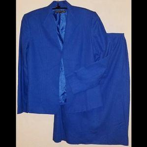 Preston & York Cobalt Blue Linen Skirt Set Sz 12